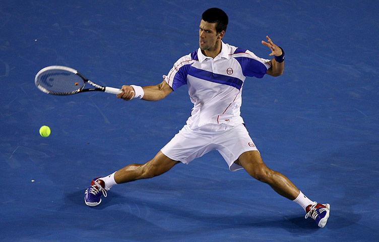 Novak Djokovic plays a