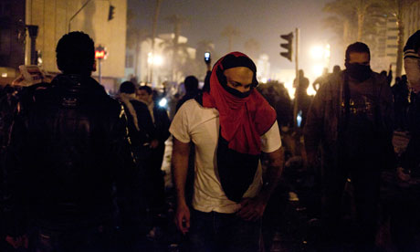 Protesters on the streets of Cairo during the uprising in Egypt.