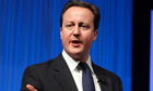 David Cameron addresses a session at the World Economic Forum in Davos