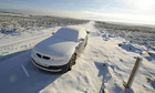 Cars left on the Scarborough to Whitby Road after snow