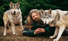 Man with wolves