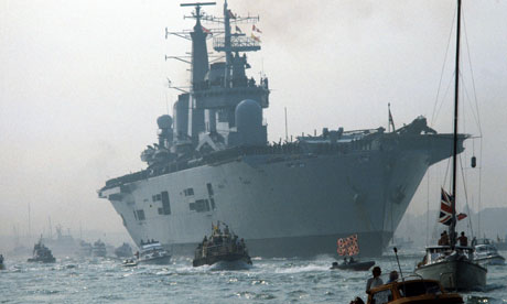 HMS Invincible returns to Britain in 1982