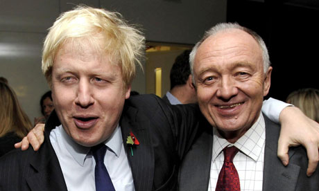 Mayor of London Boris Johnson with rival Ken Livingstone in 2009