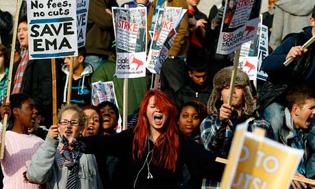 Students protest in Trafalgar Square over tuition fees and grant cuts