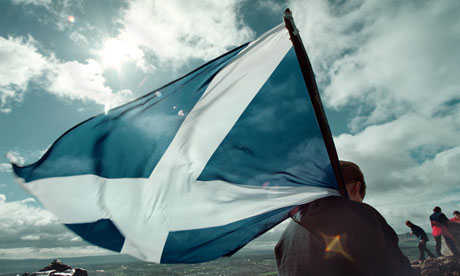 scottish flag being waved