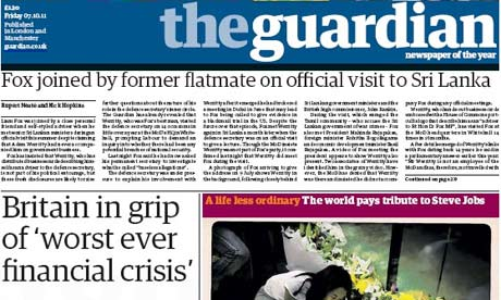 Guardian front page 7 October 2011
