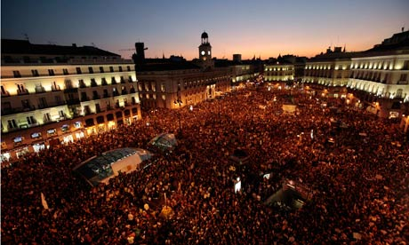 Demonstrators gather in the Puerta del Sol in Madrid.
