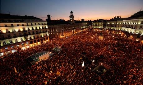 Demonstrators gather in the Puerta del Sol in Madrid.