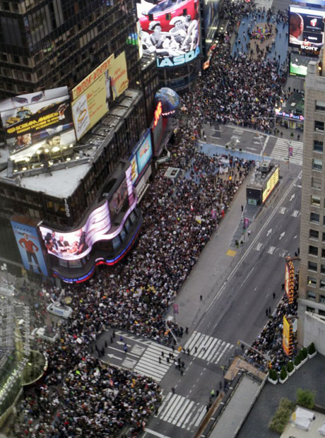 Demonstrators affiliated with Occupy Wall Street rally in New York's Times Square