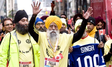 Fauja Singh after finishing the marathon