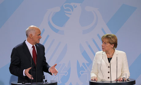 Angela Merkel and George Papandreou