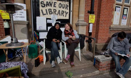 Campaigners mount a vigil outside Kensal Rise library in north-west London