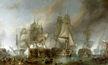 'The Battle of Trafalgar' - painting by Clarkson Stanfield, 1805.