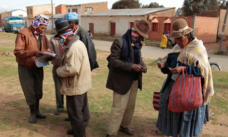 Bolivians prepare to vote during the national elections in Penas