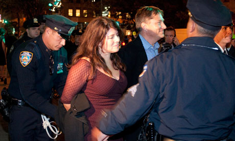 Author Naomi Klein is arrested in New York at an Occupy Wall Street protest