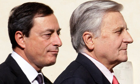 Mario Draghi and Jean-Claude Trichet