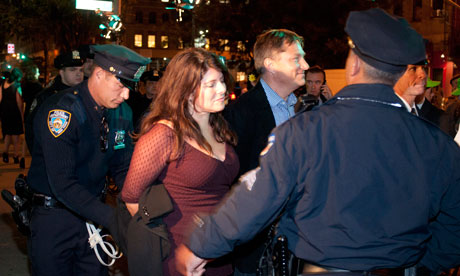 Naomi Wolf is arrested during the Occupy Wall Street protest in New York. Photograph: Mike Shane
