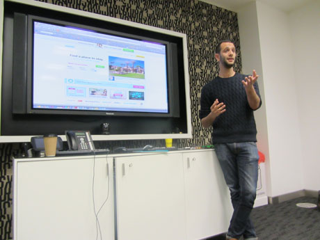 Benji Llanyado talking at the Guardian Hack Day