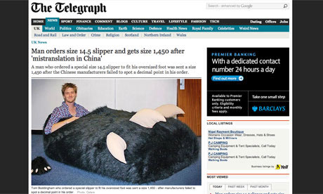 Giant slipper news story