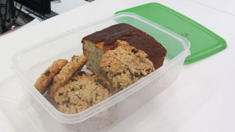 Home-made cookies and banana cake