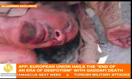 A picture on Al-Jazeera that seems to show Muammar Gaddafi's body on 20 October 2011.