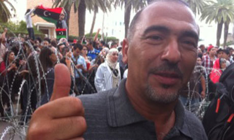 Bashir Ziggi from Libya outside the Libyan embassy in Tunisia