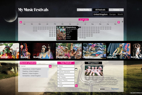 An early design for a festivals app, created by Mariana Santos.