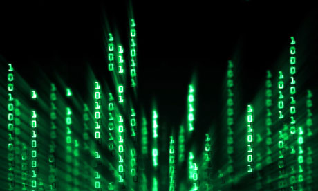 Glowing binary code data digits flowing on computer display