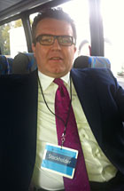 Labour MP Tom Watson on the bus to the News Corp annual meeting
