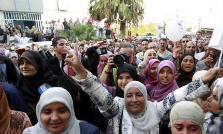 Supporters of Tunisia's An-Nahda party celebrate success in the country's first free election