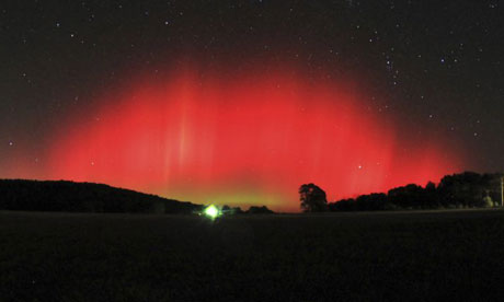 The northern lights or aurora borealis above Ozark, Arkansas