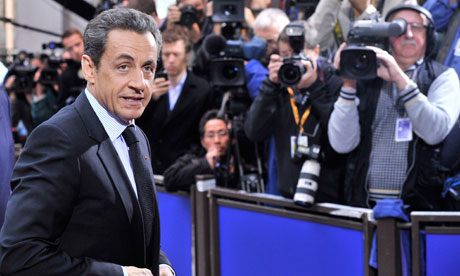 Nicolas Sarkozy arrives in Brussels