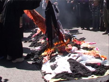 Veil burning in Yemen