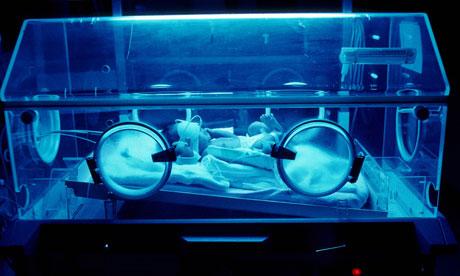 An incubator in a maternity unit