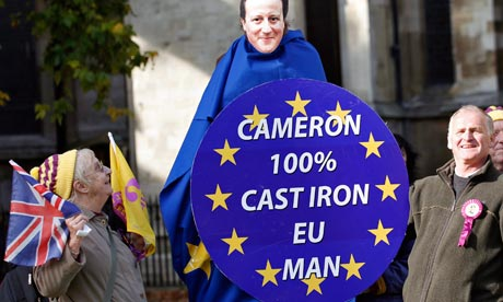 Ukip demonstrators outside parliament during EU referendum debate