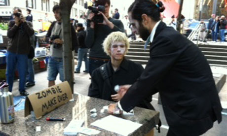 Occupy Wall Street protesters zombie demonstration