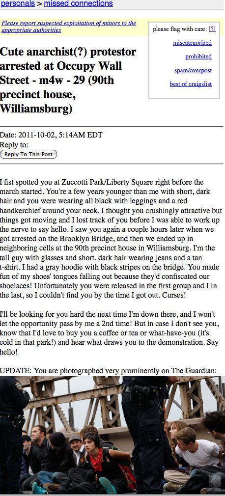 Craiglist missed connections from Occupy Wall Street Brooklyn march