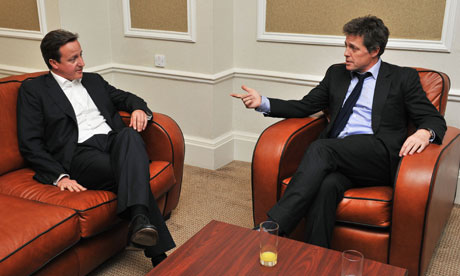 David Cameron and Hugh Grant at Tory conference 2011