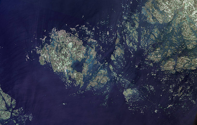 Satellite Eye on Earth: The land Islands (also known as the Aaland Islands) 