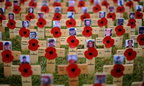 Crosses of remembrance for soldiers in Afghanistan