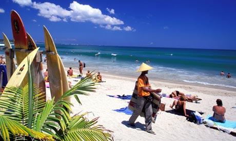 Kuta beach in Bali, Indonesia, where an Australian boy has been arrested for buying marijuana