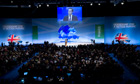David Cameron addresses the Conservative party conference in Manchester.