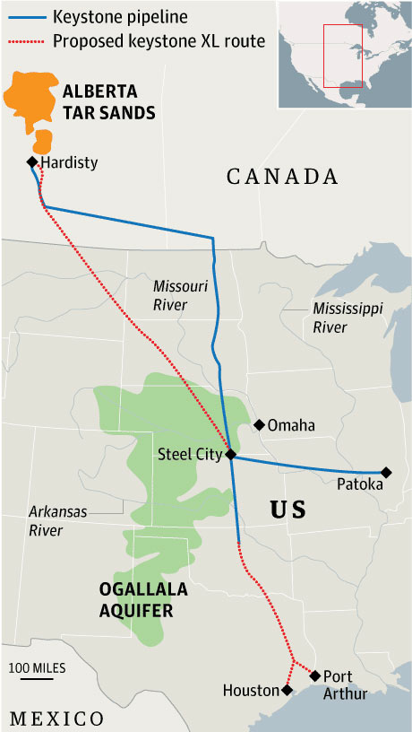 Keystone XL pipeline route map