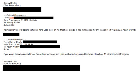 Email exchange between Adam Werritty and Harvey Boulter