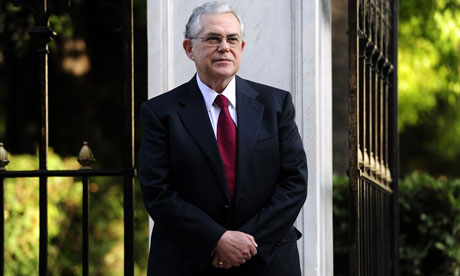 Greek Prime Minister Lucas Papademos outside the Greek Presidential palace in Athens