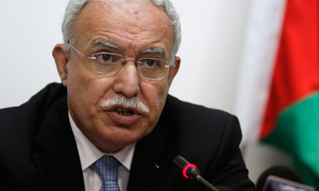 The Palestinian foreign minister, Riad al-Malki