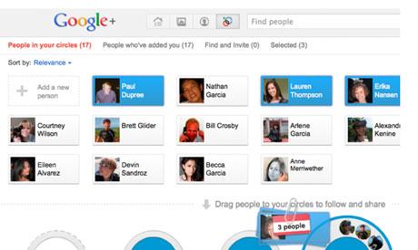 Screen shot of the Google Plus social network
