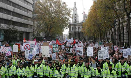 British students in central London protest against university tuition fee rises.