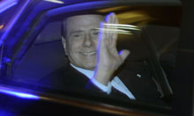 Silvio Berlusconi leaves Palazzo Grazioli