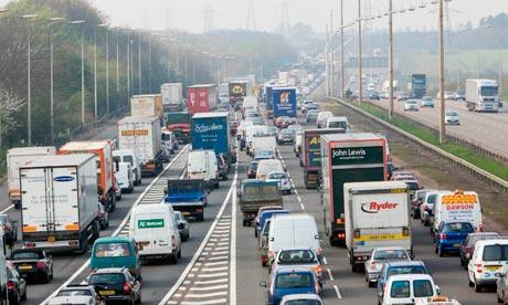 Traffic On M1 Motorway, England, UK